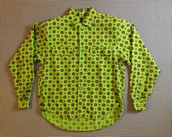 1990's, button up, collar shirt, in lime green, with purple and yellow circle design, by Liz Claiborne.  Women's size Petite