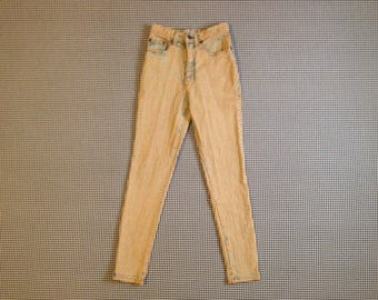 1980's, high waist, acid wash, skinny jeans, with a muddy finish, by Daily Jeans Basics