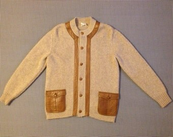 1970's, Italian Alpaca wool, cardigan, with soft, brown, leather trim, buttons, and pockets, by Shciatti & C, Men's size Medium/Large
