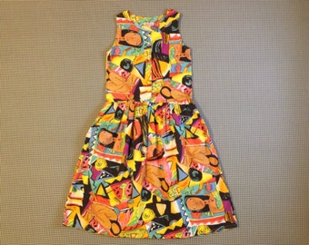 1980's, colorful, Modern Art print, tank dress, Women's size Medium