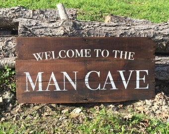 Welcome To The Mancave on Reclaimed Wood Sign- Rustic Wood Sign-Reclaimed Wood Sign-Gifts For Men-Reclaimed Wall Decor