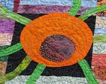 Modern Art Quilt, Quilted wall hanging, Wall Hanging, Hand Appliqued Quilt, Contemporary Quilted Wall Hanging, Fiber Art, Wall Art