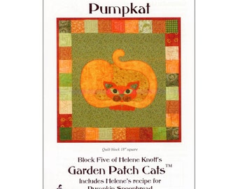 "Pattern ""Pumpkat"" Quilt Block by StoryQuilts (65) Applique Quilt Block Pattern"