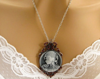 Slate Blue Cameo: Victorian Woman Blue Cameo Necklace, Rhinestone Studded Victorian Blue Cameo Jewelry, Grey Cameo Necklace, Gray Cameo