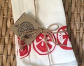 Modern Tomatoes Set of Four printed in red on white flour sack napkins
