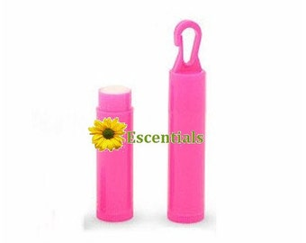 Mini Hot Pink Lip Balm Tube w/ Hook Cap - 10 Pack