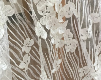 Ivory 3D Bridal Lace Fabric, French Wedding Gown Fabric, Haute Couture Fabric Dress