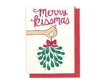 Holiday Card - Christmas Card - Holiday Card Set - Christmas Card Set - Merry Kissmas - Mistletoe