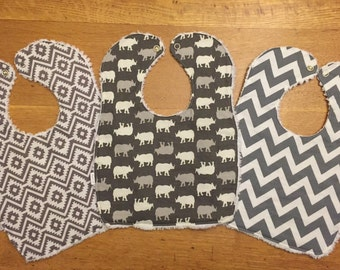 Baby/Toddler Chenille Bibs - Set of 3 - Perfect for Girls and Boys - Greys