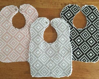 Baby/Toddler Chenille Bibs - Set of 3 - Gift Set - Nordic - Grey, Black and Pink