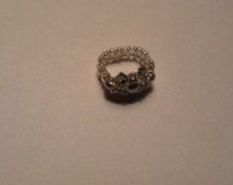 Size 8 Silver Pearl & Bicone Ring (Stretch Ring)