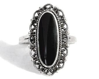 Onyx Ring Silver Boho Vintage