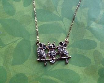 Rose gold 3 owls crystal necklace