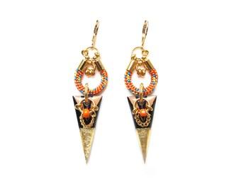 RAYA - geometric earrings, graphic earrings, statement earrings, triangle earrings, geometric jewelry, colorful jewelry, ethnic earrings