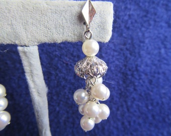 vintage pair of Clip on DANGLE EARRINGS ;  Silver tone with cluster faux Pearls