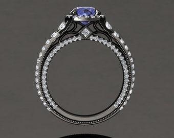 Tanzanite Halo Engagement Ring Tanzanite Ring 14k or 18k Black Gold VS2TANZBK