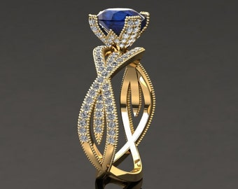 Blue Sapphire Engagement Ring Blue Sapphire Ring 14k or 18k Yellow Gold SW4BUY