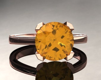 Yellow Sapphire Engagement Ring Yellow Sapphire Ring 14k or 18k Rose Gold Matching Wedding Band Available SW1YSR