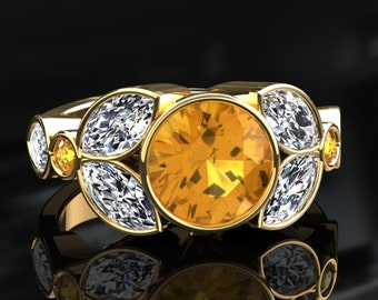 Yellow Sapphire Halo Engagement Ring Yellow Sapphire Ring 14k or 18k Yellow Gold W16YSY