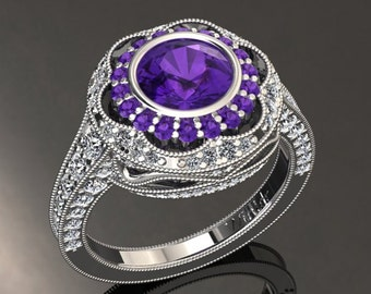 Amethyst Engagement Ring Amethyst Ring 14k or 18k White Gold W33PUW