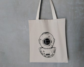 Tote Bag - Screenprint Over Cotton Canvas Tote Bag Scubadiving