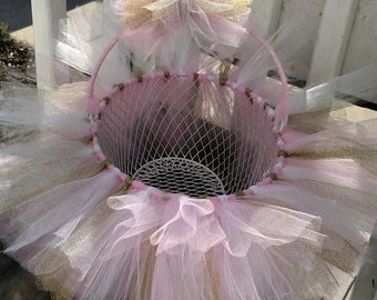 Soft Pink, White, Sparkle Gold Flower Girl, Baby Shower Easter Tutu basket Use as a bow holder, catch all basket. Can be made in any color