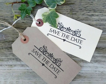Set of 10 large Ivory or Buff Save The Date Tags with envelopes