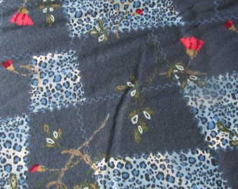 Blue with Floral Patchwork Cotton