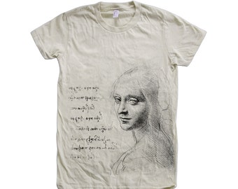 Womens DA VINCI Tshirt Custom Hand Screen Print American Apparel Crew Neck Tshirt Available: S, M, L, Xl Water Based Ink