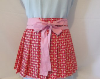 Pink and Green Pleated Half Apron