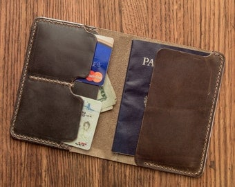 Ready to Ship - Passport Wallet - Hand Stitched Olive Horween Chromexcel Notebook Wallet