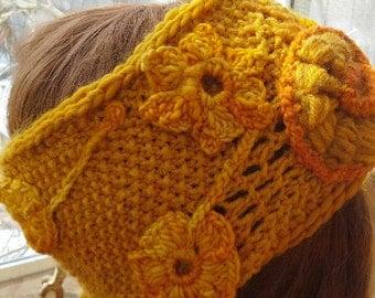 freeform knit crochet headband in yellow/ yellow freeform earwarmer / made to order