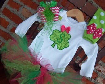 St. Patrick's Day Tutu Outfit - Personalized Shamrock - Bodysuit - Over the Top Bow- Green and Pink Leg Warmers - Baby Girl Set