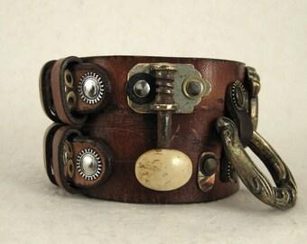 374 Steampunk BDSM Bracelet Burning Man Palimpsest Industrial Recycled Jewelry
