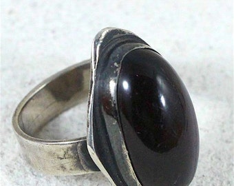 SALE Hold Primitive Antique Sterling silver black onyx ring from sealed EVP room PARANORMAL Story