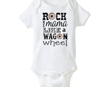 Country Music Baby Onesie Wagon Wheel Old Crow Cool Baby Shower Gift Cute Funny rock me mama medicine show Awesome boy girl neutral Southern