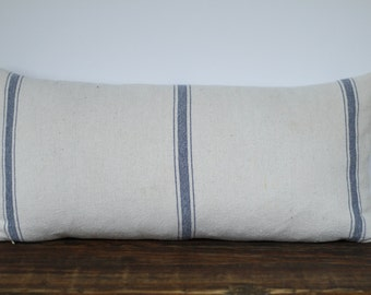 Grain Sack Fabric Pillow Cover, Farmhouse Pillow, Decorative Pillow Cover, French Farmhouse Pillow - BLUE STRIPE