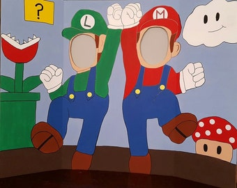 Super Mario & Luigi Hand Drawn and Painted Photo Op Display / Cutout Board! (choose from 2 designs)