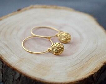 Gold Flower Charm Earrings- Minimalist Earrings- Small Hoop Earrings