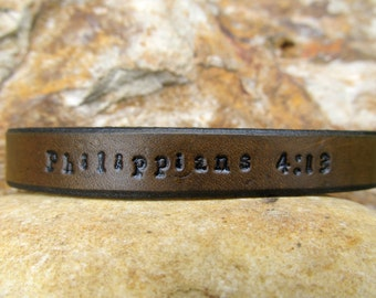 Mens Custom Leather Bracelet Cuff - Scripture Text - Personalize it how you want - Medium Brown - Men or Women Kids Children