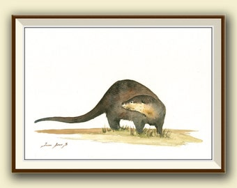 PRINT- River Otter print - Otter painting - animal art wild life watercolor print painting  - Art Print by Juan Bosco