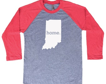 Homeland Tees Indiana Home Tri-Blend Raglan Baseball Shirt
