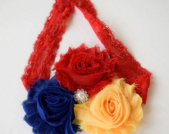 Primary Colors - Red Blue and Yellow Headband - Modern Girl - Shabby Flower Headband - Bright Headband - Adult Rose Headband - Summer Bows