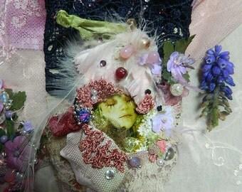 Wrist cuff bohemian fairy beaded and ornated