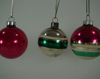 Vintage Christmas Ornaments, Lot of 3, Retro, Stripes, 1 All Pink, 2 Striped Glass X-mas Balls, Christmas Tree FREE 1st Class Shipping