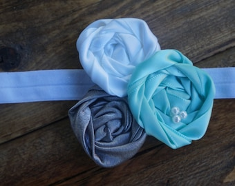 Blue, white, and grey rosette headband