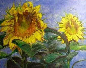 Sunflowers Art Print from original oil painting. Flowers, garden, Impressionist.