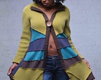 Green, Blue, Turquoise, Brown upcycled cardigan sweater coat cotton size Medium/Large boho repurposed clothing ecofashion