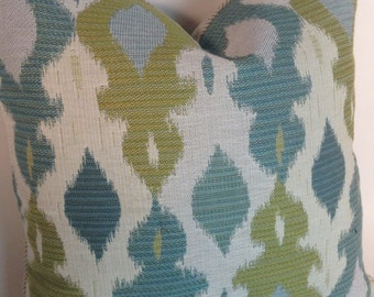 Green and Blue Woven Ikat Pillow Cover
