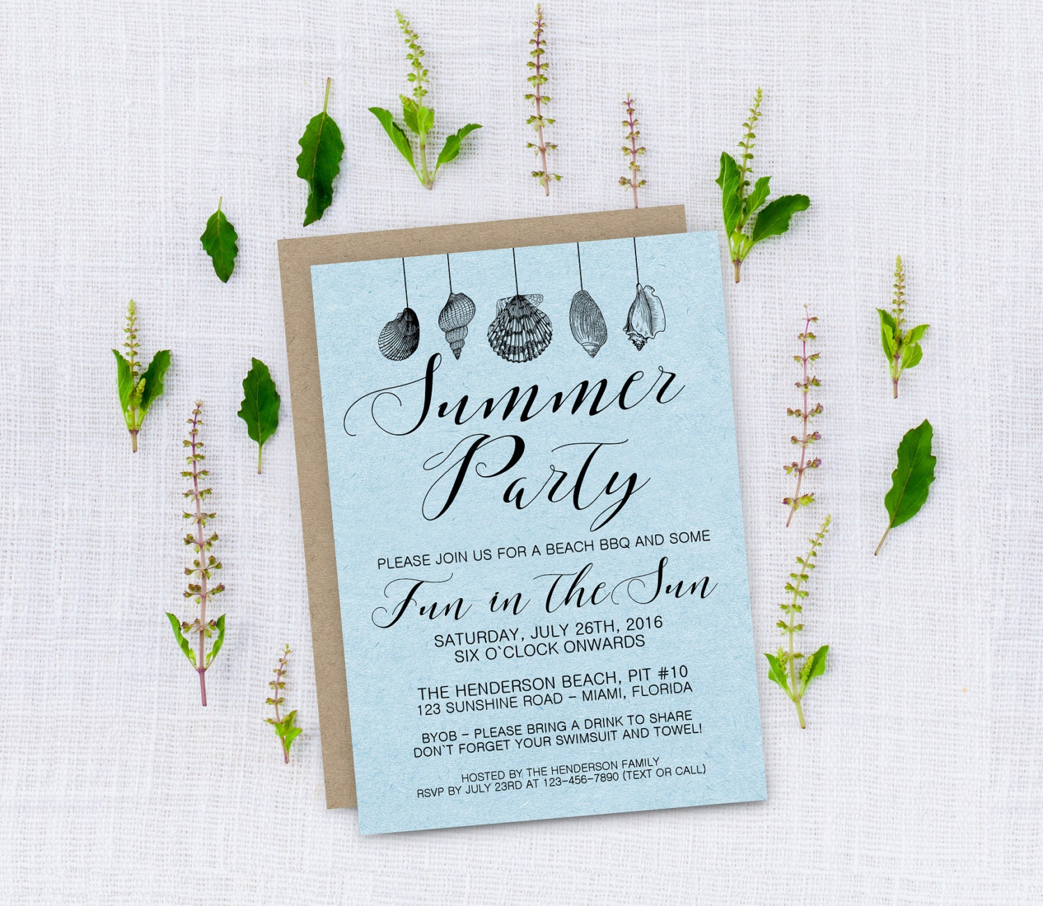 Summer Party Invite // Personalized Printable Elegant Decorative ...
